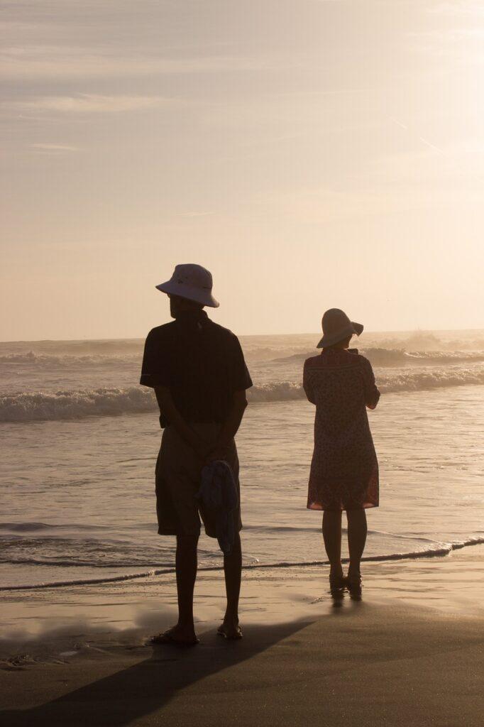 couple, beach, sunset