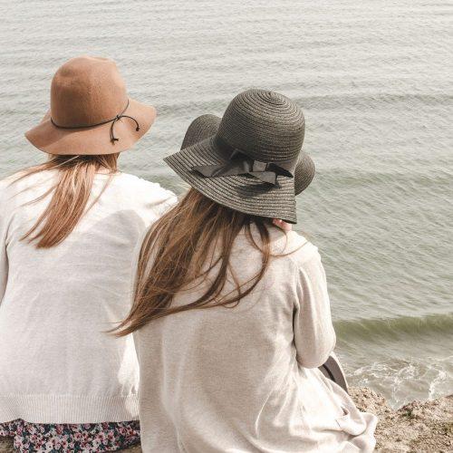 beach, hats, ocean