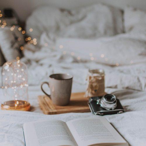 camera, book, candle