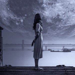 fantasy, moon, girl