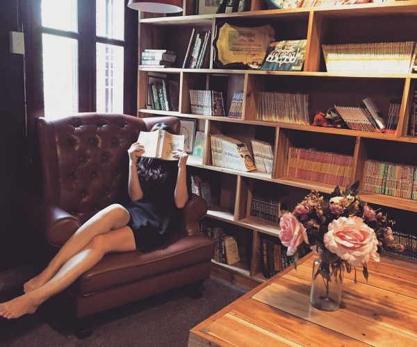 woman, reading, couch
